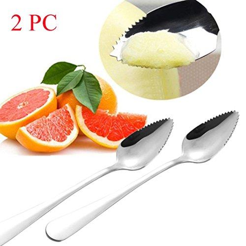 Küche Löffel, Jaminy 2PC Thick Edelstahl Grapefruit Löffel Dessert Löffel gezackten Rand Obst und Gemüse Küche Gadgets Cooking Tools