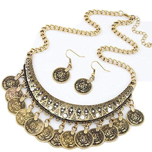 LHWY Étnica De Collares Gargantillas Vintage Tallado Monedas Agradables Collares Y Pendientes (Oro)