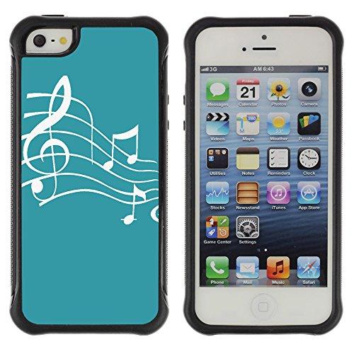 Graphic4You Musik Noten Muster Design Shockproof Anti-Rutsch Weichen Hülle Case Tasche Schutzhülle für Apple iPhone SE / 5 / 5S (Rot) Turquoise