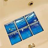 6 Stück Sticker Aufkleber 3D Anti-Rutsch Selbstklebend Unterwasserwelt für Badezimmer Badewanne Dusche LianLe