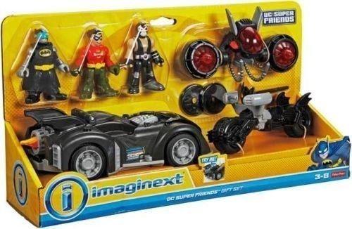 Fisher Price - DC Súper Amigos - Imaginext - dc súper amigos Regalo Set- Incluye Batman, Robin & Bane Mini Figuras, 3 Vehículos y accesorios