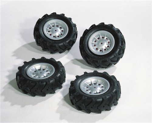 Rolly Toys Ersatzteile Rolly Toys 409181 rollyTrac Air Tyres Reifen | Luftbereifung für Traktoren | 4 Reifen 310x95 | max. 0,8 bar | passend für rollyFarmtrac Classic und rollyTruck (Unimog) | Felgen silber