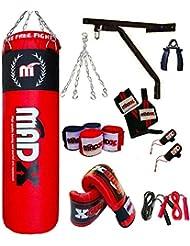 MADX Box-Set, 13Stück, 152 cm gefüllter schwerer Box-/Trittsack, Handschuhe, Kette, Halterung