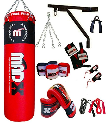 MADX - Set de boxeo (13 piezas, saco de 1,20 m con relleno, guantes, c