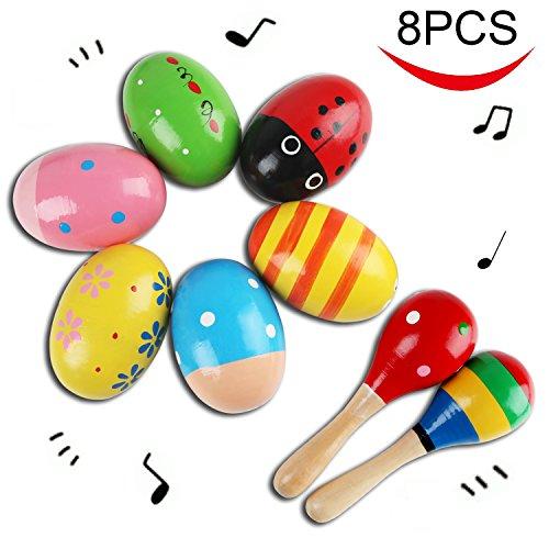 und 2 Stück Holz-Maraca, Farbig Holz Rassel Sand Hammer Ei Shakers Music Percussion Spielzeug für Kinder Kleinkind Babies ()
