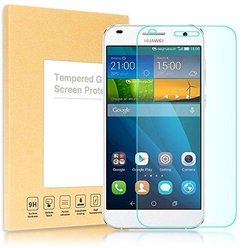 NALIA Schutzglas kompatibel mit Huawei Ascend G7, Full-Cover Bildschirmschutz Handy-Folie, 9H gehärtete Glas Schutz-Folie Display-Abdeckung, Phone Film Screen Protector Tempered Glass - Transparent