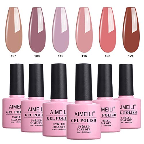 AIMEILI UV LED Gellack mehrfarbig ablösbarer Gel Nagellack Set Gel Nail Polish Kit - 6 x 10ml - Set Nummer 30 -