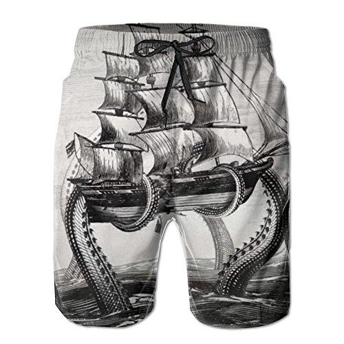 Octopus Ship Männer/Jungen Casual Badehose Kurze Strandhose mit elastischer Taille und Taschen - Herren Carpenter Jeans Kurze