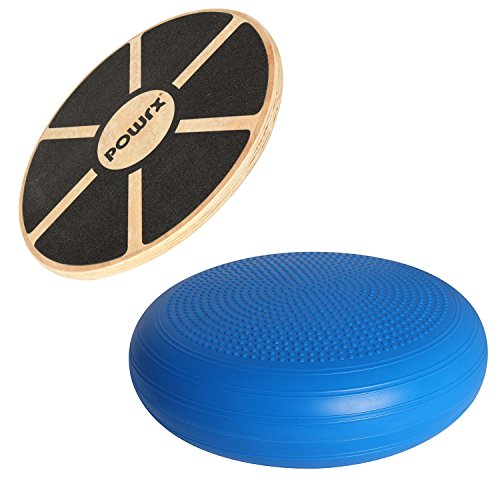 POWRX Balance Set | Balance-Board aus Holz + Balance-Kissen | Gleichgewicht Stabilität Koordination | Ideal für Fitness Pilates Yoga
