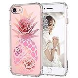 MOSNOVO Coque iPhone 7, Coque iPhone 8, Tropical Ananas Rose Clair Design Motif Transparente Arrière avec TPU Bumper Gel Coque de Protection pour iPhone 7 / iPhone 8 (Ananas)