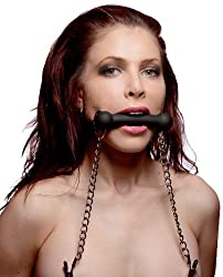 Master Series Black Equine Silicone Bit Gag With Nipple Clamps
