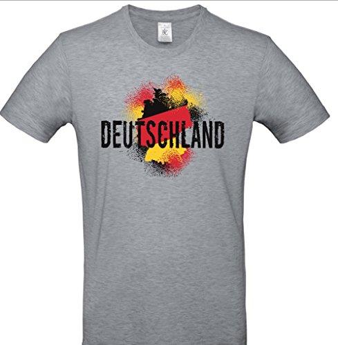 B&C Coole Fan T-Shirts Deutschland WM 2018 Herren grau Melange