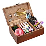 Isoto cestino da cucito in legno con kit da cucito accessori vintage Organize box per Mon nonna ragazza donne Hobbyist domestici