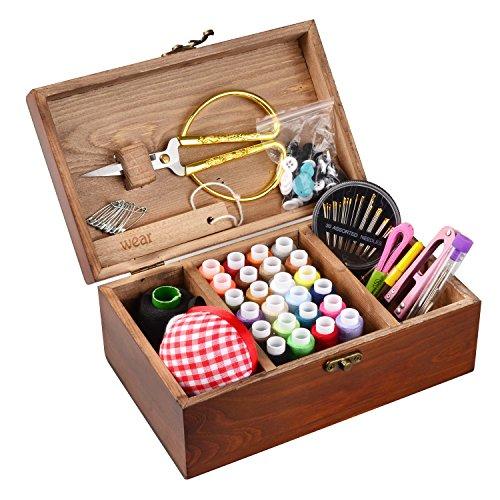 Isoto Nähkasten aus Holz mit Zubehör, Vintage-Organisationsbox für Mutter, Oma, Mädchen, Damen, Hobbyist, Haushalt, Geschenk -