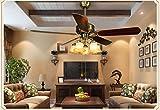 American Vintage fan leuchtet Kronleuchter Lampe Wohnzimmer Continental antike Hause kreative einfache Fernbedienung Deckenventilator (Energieeffizienzklasse A +) leuchtet ( farbe : 52 Inch )