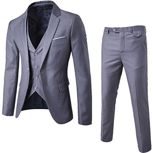 ZhuiKun Abito Uomo 3 Pezzi Vestito Completo Smoking Slim Fit Aderente con Blazer Pantaloni Gilet Grigio Chiaro XL