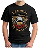 OM3 - BANDIDO-TEQUILA - T-Shirt VIVA MEXICO GUNS ROSES SOMBRERO USA THE WALL ROCK GEEK NYC, M, Schwarz