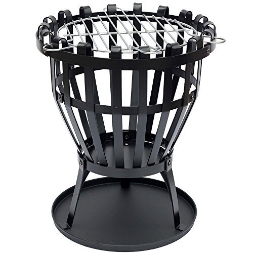 Home Discount\' Steel Brazier Outdoor Garden Patio Heater Fire Burning Log Wood Burner Basket BBQ Grill Ash Tray, Round by Home Discount