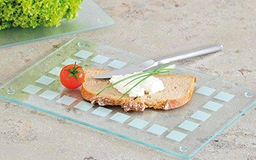 Glas Schneideplatte mit satiniertem Muster, Küchen Schneidebrett, 3 Größen, Servierbrett (Mittel, 30x20cm)