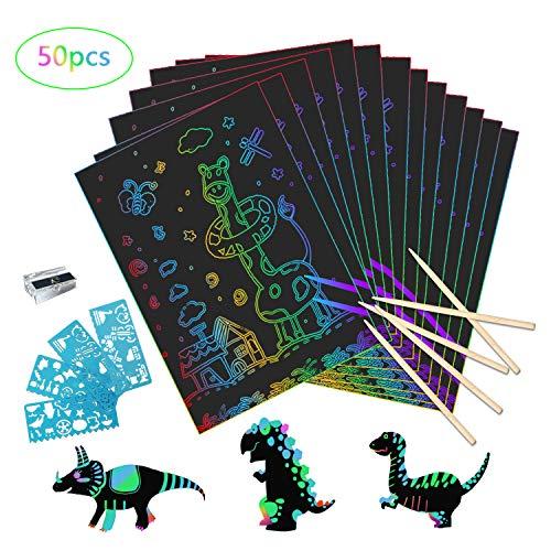 Kratzbilder Set für Kinder, 50 Große Blätter Regenbogen Kratzpapier zum Zeichnen und Basteln, mit 4 Schablonen und 5 Holzstiften (26 x 18cm) (Blättern Basteln Mit)