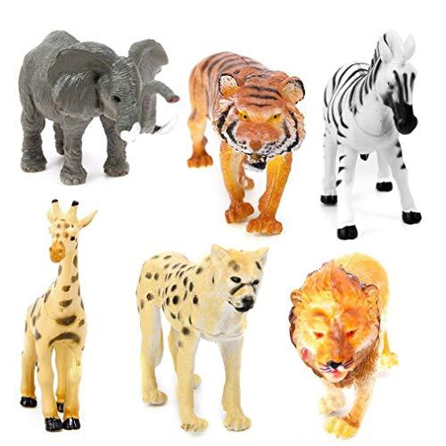 Ishua 6 stücke Simulation Tier Kinder Spielzeug Set Miniatur Tiger Leopard Lion Giraffe Zebra Elefant Lernen Pädagogisches - Helle Zebra Kostüm