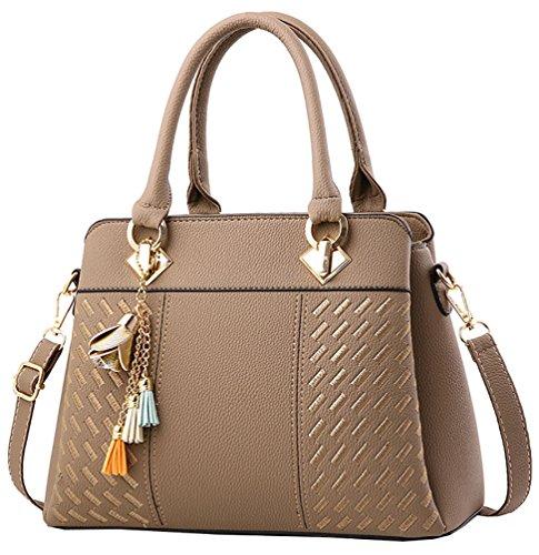 Mode-griff (Damen Handtasche Damen Große Mode-Design Tragetaschen Damen Umhängetasche Top Griff Taschen(Khaki))