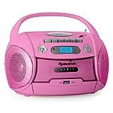 Auna Boomgirl mobiler MP3-CD-Player Kassettenplayer Rekorder Lautsprecher Ghettoblaster rosa