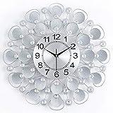 Bidesen Startseite Deko 50x50cm Kreative Kunst Wanduhr Kristall Moderne Uhr für Wohnzimmer Persönlichkeit Shell Design Einfache Wanduhr Quarzuhr Stumm Uhr (Farbe : Silber)