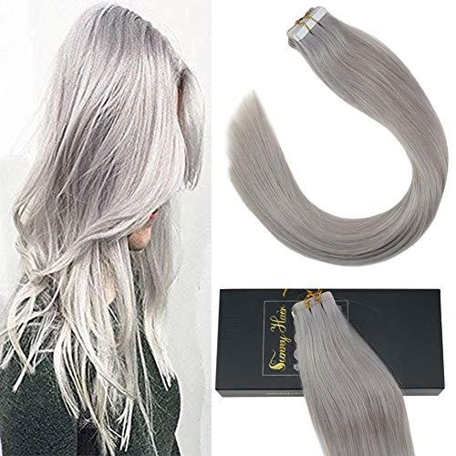 [grande sconto]sunny extension capelli veri biadesivo grigi umani naturali invisible extension 100% remy capelli 16