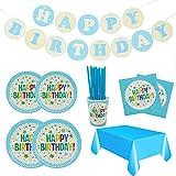 Set de Vajilla Desechables para cumpleaños,106 Piezas-Vajilla Diseño de Happy Birthday para 20 Personas,Decoraciones para cumpleaños,Incluye Platos,Vasos,servilletas,pajitas,Guirnalda y Mantel (Azul)