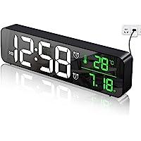 Réveil numérique de Chambre à Coucher, réveil du Matin, Horloge Murale, Affichage Miroir LED (avec Date de température…