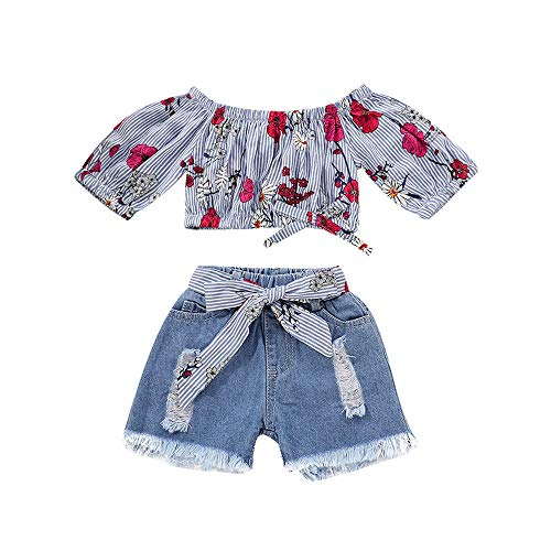 Levifun bambino maglietta+ set pantaloncini jeans striscia manica corta arco stampa estate casual cotone abiti neonata bambina vestiti bambine baby clothes ragazze 6 mesi-4 anni