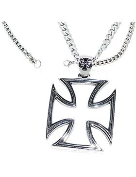 Eisernes Kreuz Anhänger Iron Cross Ritterkreuz Halskette Edelstahl Kette Panzerkette Massiv Damen / Herren Biker...