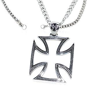 Eisernes Kreuz Anhänger Iron Cross Ritterkreuz Halskette Edelstahl Kette Panzerkette Massiv Damen/Herren Biker Stainless Steel