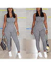 342d42b5a22 Yinew Women Solid Rompers V Neck Sleeveless Jumpsuits Summer Sexy Casual  Playsuit Outfits