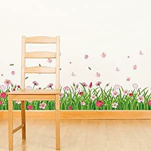 Amazon Brand - Solimo Wall Sticker for Living Room (Flowery Meadow, Ideal Size on Wall: 132 x 49 cm)