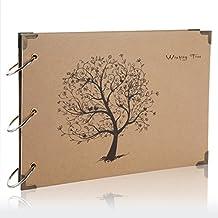 Flylther 30 Hojas/60 Páginas DIY Foto Álbum para Fujifilm Instax Mini 8 8+ 9 70 7s 90 25 26 50s/ Impresora Fotográfica Portátil - árbol(Papel Negro)