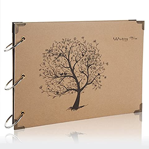 Flylther 30 Feuilles/60 Pages DIY Photo Album pour Fujifilm Instax Mini 8 8+ 9 70 7s 90 25 26 50s Films/Imprimante Photo Portable Films - Arbre(Papier Noir)