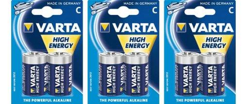 Varta 4914 LR14 High Energy Alkali Baby C Batterie (3 x 2er-Blister) 6er-Pack