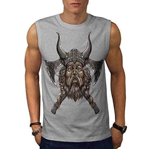 wellcoda Wikinger Helm Axt Männer 2XL Ärmelloses T-Shirt
