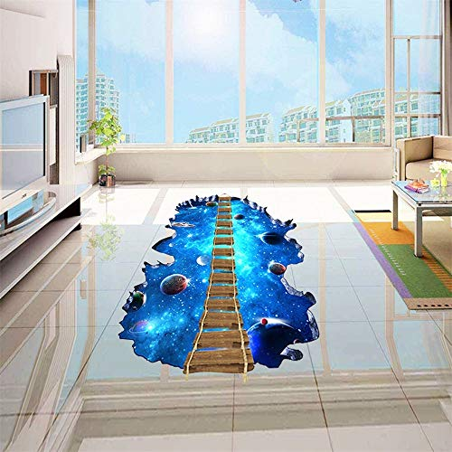 Wall Stickers 3D Starry Sky Wooden Bridge Living Room Bedroom Shopping Mall Supermarket Stickers Environmentally Friendly Removable