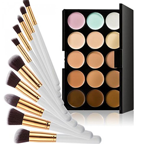 Set Palette Anticernes 15 Couleurs + 10pcs Pinceaux de Maquillage - Blanc et Or