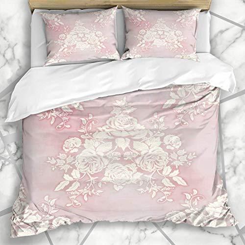 Soefipok Bettbezug-Sets Blossom Pink Französisch Bouquet viktorianischen Vintage Aquarell Classic Rose Garden Floral Englisch Muster Mikrofaser Bettwäsche mit 2 Pillow Shams -