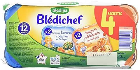 Blédina Blédichef 4 Assiettes 2 Purée aux Epinards Saumon + 2 Spaghetti Bolognaise dès 12 mois 4 x 230 g - Lot de 4