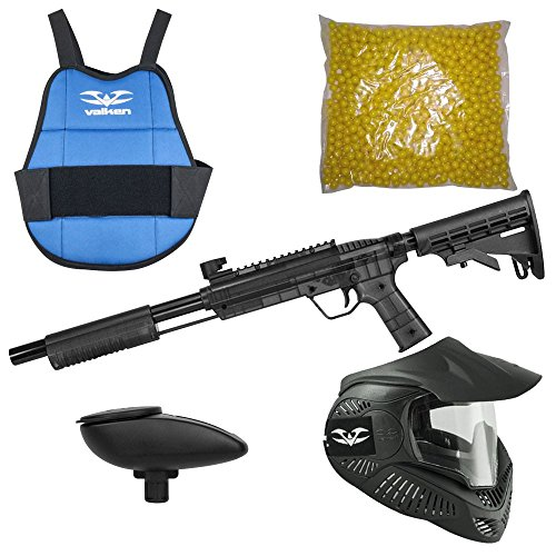 Valken Kinder Kids Tactical Gotcha Gun inkl. MI-3 Maske, Brustpanzer, Loader 120 und 500 Paintballs-Cal. 50, 0.5 J-Smoke Markierer Set, M