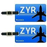 Brüssel Belgien–Schiene Service (ZYR) Flughafen Code Gepäck ID Tags Set von 2
