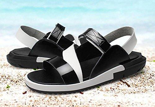 SYYAN Uomo Spiaggia Sandali Pelle Traspirante Antiscivolo Fatto a Mano Flip Flop All'aperto Tempo Libero Black