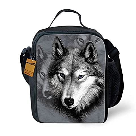 OrrinSports 3D Print Insulated Lunch Bag Totes Keep Hot And Cold For Kids Wolf by OrrinSports
