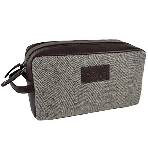Cuir et tweed Trousse de toilette pour homme par Mala ; Abertweed Collection Cadeau de voyage en laine