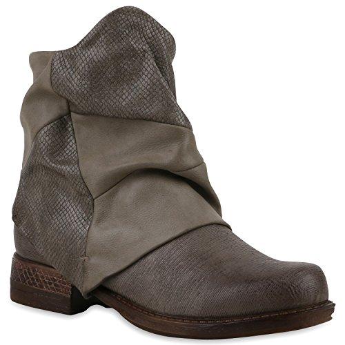 Damen Biker Boots Stiefeletten Prints Profilsohle Block Absatz Schuhe 120892 Khaki 38 Flandell